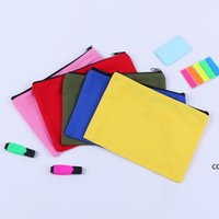 20x14.5cm 5 Colors Canvas Makeup Bags Zipper Pouch Bags Pencil Case Blank DIY Craft Bags Cosmetic Pouch for Travel School DHD8755