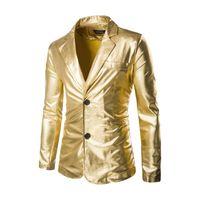Men's Suits & Blazers Gold Stamp Shiny Dress Coat Costume Fashion Slim Fit Nightclub Tuxedo Stage Host Prom Men Singer Clothing