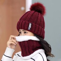 Hats, Scarves & Gloves Sets Knitted Winter Hat Scarf Set Women Thick Cotton Beanies And Ring Female Accessories Girls Gift