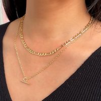 Chains Fashion Simple Layered OT Buckle Necklace For Woman Vintage Double Chain Geometric Pendant Collar Figaro Clavicle Jewelry