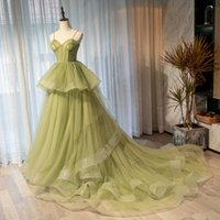 2021 Sage Evening Dress Court Train Prom Gowns Sexy Spaghetti Lace-Up Back Layers Tulle Runway Party