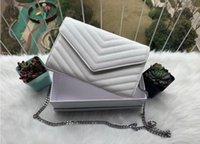 2021 Designer Handtaschen Tasche Schaffell Kaviar Metallkette Silber Designer Handtasche Ledertasche Flip Cover Diagonal Umhängetaschen mit Staubbeutel