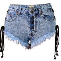 Women's Jeans [EWQ] 2021 Spring Summer Arrivals High Waist Solid Pattern Pockets Bleached Tassel Women Casual Straight Shorts AY56305XXS