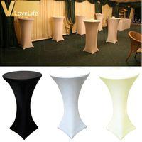60cm 화이트 / 블랙 / 아이보리 라이크라 드라이 바 커버 칵테일 테이블 식탁보 결혼식 이벤트 파티 홈 장식 액세서리 천