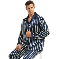 Mens Seidensatin-Pyjamas-Set-Pyjamas PJS SEEPWEAR-Loungewear S ~ 4XL Gestreift 210918