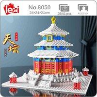 Lezi 8050 mondiale architettura antica tempio del paradiso neve inverno mini blocchi di diamante mattoni building giocattolo per bambini senza scatola x0503