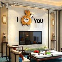 Wall Clocks Cartoon Dog Clock Watch DIY Mirror Stickers Art Poster Decoration Living Room Quartz Horloge Home Decor 2021