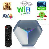 A95x F4 Amlogic S905x4 Android 11 Caixa de TV 4GB 32GB 2.4G5G WiFi Bluetooth 4.2 8K Ultra Smart Media Player Set Topbox