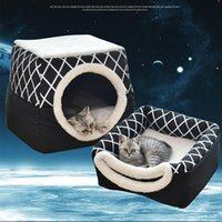 Pet Bed For Cats Dogs Soft Nest Kennel Cave House Sleeping Bag Mat Pad Tent Pets Winter Warm Cozy Beds 2 Size L XL Colors Cat & Furniture