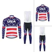2021 الأمريكية الولايات المتحدة الأمريكية العلم الرجال الدراجات الملابس جيرسي طويل مريلة السراويل مجموعة قميص الجوارب الربيع والخريف نمط أو الصوف الحراري الشتاء