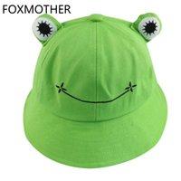 귀여운 녹색 검은 개구리 인쇄 어부 파나마 모자 밥 chapeau 여름 만화 양동이 모자 여성을위한 여성용 숙녀 넓은 모자