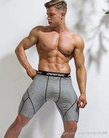 2020 Toptan Spor Gömlek Erkek Sıkıştırma Şort Fitness Koşu Spor Salonu Eğitim Iç Çamaşırı Spandex Sıkı Fit