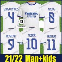 ريال مدريد لكرة القدم الفانيلة كروس أسينيو بنزيما كرة القدم جيرسي موشم سيرجيو راموس قمصان مارسيلو R.Varane Alaba زي رجل Kids 2021 2022 Camiseta Galactico