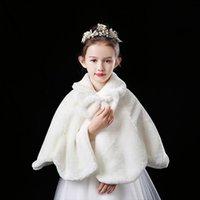 Filles de fleurs épaissir peluche boléro haussement haussement d'épaules princesse blanche fourrure manteau de fourrure épaule cape robe de mariée robe châle enveloppe arcknot