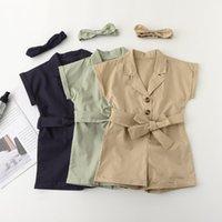 Girls Solid Romperers 3 Design Cotton Sultsuiti in cotone Manica corta a maniche corte BUTTON BUTTURE BUSTE BAMBINI BAMBINI BAMBINI Abiti fascia 2-7T 1400 B3