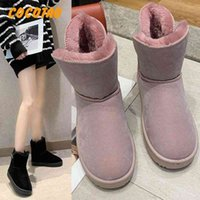 Snow Boots Female Short Tube 2019 New Korean Version Of The Wild Short Womens Warm Cotton Shoes Winter Non Slip Bread Boots Football B r1Be#