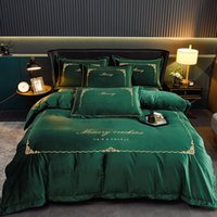 Bedding Sets Kids Set Dark Green Embroidered Cotton Double Bed Sheet 4 Pcs Designer Baby Bedroom Tagesdecke Home Garden ZZ50CP