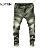 KSTUN Jeans Männer Skinny Stretch Herren Colourd Jeans Mode Slim Fit Jeans Casual Hosen Hosen Jean Männlich Grün Schwarz Blau Weiß 210317