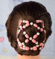 Color mezclado Mujer Bowknot Style Bead de plástico Stretchy Magic Pein Polls Slide Metal Clip Barrettes Accesorios para el cabello WJL2697