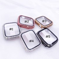 Luxury Rhinestone Diamond Protective Cases For Apple Watch 44mm 40mm Screen Protector Case Iwatch 6 SE 3 42mm 38mm Women Jewelry Cover