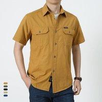Summer Casual chemise Hommes surdimensionnés à manches courtes Chemises Chemises multiples poches de loisirs pour hommes Blouse 5XL 08