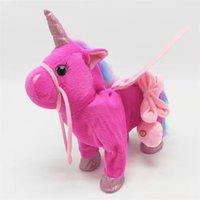 Mascotas electrónicas Encantador juguete lindo unicornio correa Pegaso Muñeca puede caminar y cantar Electric Dragon Horse Plush Niños regalos ZSJ857896