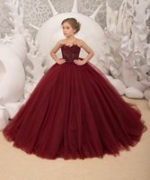 Sheer Crew Neck Flower Girls' Dresses with Beaded Feathers Decoration Kids Formal Special Party Wear Buttons Back Tulle Pageant Toddler Birthday Princess Gowns