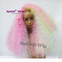 Unicornio Pastel Rainbow Color Peluca para el cabello Pelucas delanteras de encaje sintético Peluca rizada Kinky para afroamericano Negro Sirena Cosplay Mujeres