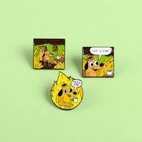 핀 작은 노란색 개 음료 커피 크리 에이 티브 브로치 만화 패션 성격 고품질 브로치