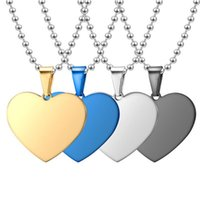 Pendant Necklaces Stainless Steel Peach Heart Pendant, Love Necklace, Heart-shaped Jewelry, Blank Laser Lettering