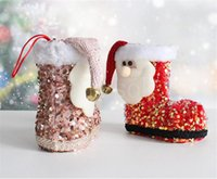 Christmas Gift Bags Santa Claus Cute Sequined three-dimensional Boots Candy Socks Xmas Tree Decoration Pendant DD555