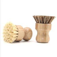 Handheld Wooden Brushes Round Handle Pot Brush Sisal Palm Dish Bowl Pan Cleaning Tool Kitchen Chores Rub Cleaner DH7855