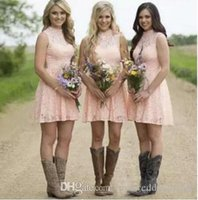 Cheap Country Short Bridesmaid Dresses 2019 Blush Pink Sleeveless Above Knee Length Bridesmaid Gowns Lace Maid Of The Honor Party Dress