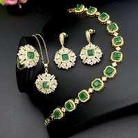 Earrings & Necklace Jewelry Sets For Women Wedding Bridal Gold Plated Expensive And Earring Ring Luxury Fashion Emerald Dubai India Fine
