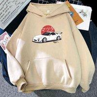 Anime Inicial D Hoodies Mazda RX7 Impresso Homens Mulheres Moda Moda Hoodie Streetwear Suéter Cultura de Automóveis JDM