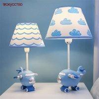 Настольные лампы Детская комната Голубой красный маленький самолет Светодиодная лампа Dimmable Home Deco Creative Детская спальня прикроватательный стол ночной светлый подарок