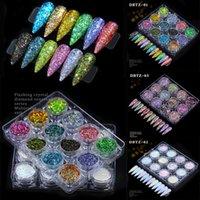 12 kleuren 3D Nail Art Pailletten Gemengde Glitter Poeder Sequin Poeders voor nagels Decoratie Holografisch effect