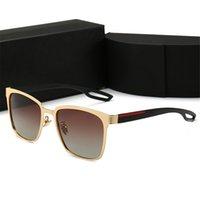جودة عالية الرجعية الاستقطاب الفاخرة رجل مصمم نظارات شمسية بدون شفة مطلية بالذهب مربع العلامة التجارية الشمس النظارات النظارات