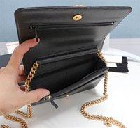 Classic luxury fashion brand wallet vintage lady brown leather handbag designer chain shoulder bag with box wholesale 02