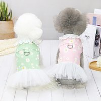 Dog Apparel with Harness D-Ring Puppy Pet Clothes Outfit Shirt Flower Costume for Small Girl Dogs Daisy