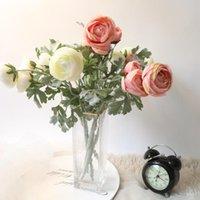 장식 꽃 화환 단일 인공 꽃 핑크 로즈 랜드 로터스 지점 5 머리 결혼식 꽃다발 가짜 가정 장식 액세서리 1