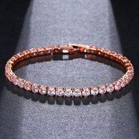 Charm Bracelets ORZTOON Vintage Shine Cute Zircon Chain For Women Luxury Elegant Rose Gold Bracelet Trendy Bridal Wedding Jewelry 2021