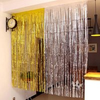 Party Decoration Gold Silver Metallic Foil Tinsel Fringe Curtain Birthday Wedding Pography Backdrop Po Props