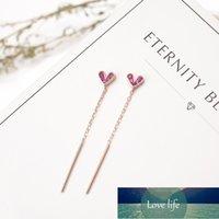 925 스털링 실버 절묘한 핑크 하트 눈부신 지르콘 긴 술 귀걸이 소녀를위한 Bar Pendan Jewelry 도매 S-E481