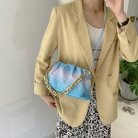Popular New Color 2021 Contrast Bag Shoulder Cloud Gradient Shiny Single Messenger Fold Pdhjd