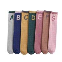 Calcetines para niños para niños Niñas Knit Knee High Sock Accesorios de bebé Primavera Otoño Largo Algodón Carta Casual Deportes 3-12Y B5342
