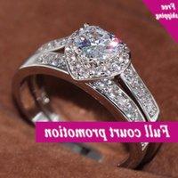 Brandneue Luxusschmuck 10kt Weißgold gefüllt 5A Klarer Zirkonia CZ Party Frauen Hochzeit Braut Paar Herz Ring Set Gift
