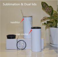 15oz Dupla Tampas Sublimação Skinny pode Cooler Tumbler 355ml tumblers retos com palha de aço inoxidável vácuo isolado armazenamento frigorífico para cola garrafa