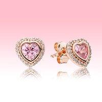 Rosa funkelnde Herz Ohrstecker Luxus Designer Rose vergoldet Schmuck für Pandora 925 Silber Liebe Herzen Ohrring mit Original Box