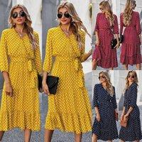 Women's polka dot print dress Women casual Dresses ruffle Long Sleeve